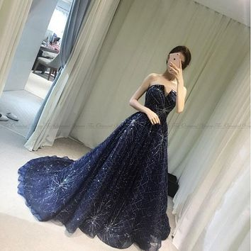 Sparkling Navy Blue Sequined Long Evening Dress 2017 Real Photos Formal Party Prom Dresses Robe De Soiree V-neck Evening Gowns