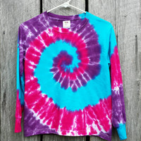 Women's Tie Dye Long Sleeve Shirt, S M L XL XXL,  Pink Purple and Turquoise Spiral,  Hippie Shirt, Ladies Top