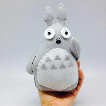 Handmade Totoro in Felt - plush toy decor - kawaii