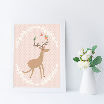 Kawaii Deer Art Print, Woodland Nursery Printable, Instant Download, Kids Room Wall Art, Deer Decor