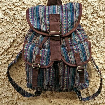 Tribal Aztec Ethnic backpack Southwestern Native Inspired patterns fabric Festival Drawstring bag Bohemian Hipster Boho Folk Rucksack bucket