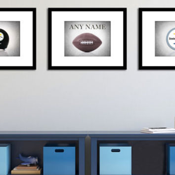 Personalized set of 3 Pittsburgh Steelers photo print,boys room decor,kids room decor,pittsburgh steelers,football decor,football wall art