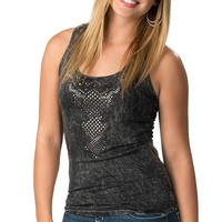 Katydid Collection® Women's Distressed Black Studs with Lace Racerback Sleeveless Tank Top