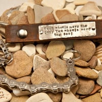 Leather Keychain motorcycle -bike chain- customizable quote - two wheels move the soul