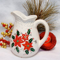 Ceramic Pitcher With Poinsettias and Holly