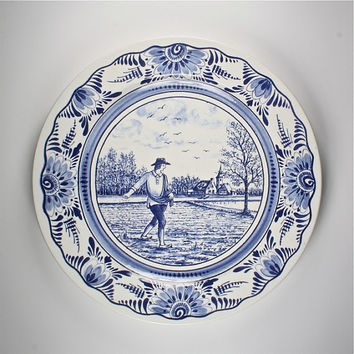 vintage french ceramic plate, blue and white dutch Delft style seasons, Springtime