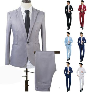 Chic Mens Formal Prom Suits Groomsmen Tuxedos Wedding Suits 2 Piece Jacket+Pant