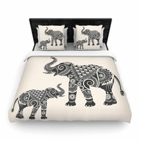 "Famenxt ""Ornate Indian Elephant-Boho"" Black Beige Woven Duvet Cover"