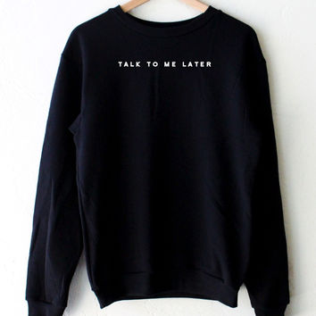 Talk To Me Later Oversized Sweater - Black