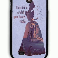 Samsung Galaxy S4 Case - Rubber (TPU) Cover with Cinderella Dream Quote Rubber Case Design