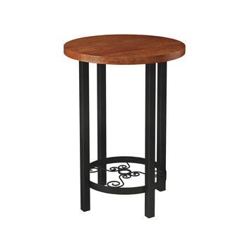 Whitby Chestnut Wood and Metal Scroll Round End Table
