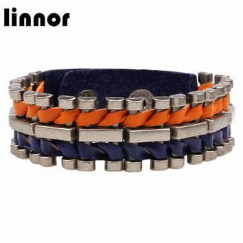 Linnor 2017 New Arrival Genuine Leather Bracelet Stainless Steel Metal Wrist Band Bangle Buckle Snap Braclet Homme Female