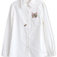 White Embroidery Cat Pattern Pocket Detail Shirt