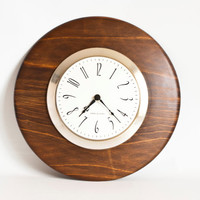 Mid Century General Electric Wood Wall Clock, GE Walnut Veneer Clock, Made in USA, Vintage MCM Home Decor