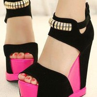 Ladies High Heel Cut Colour Ankle Strap Wegde Shoes In PINK from NaomiShu