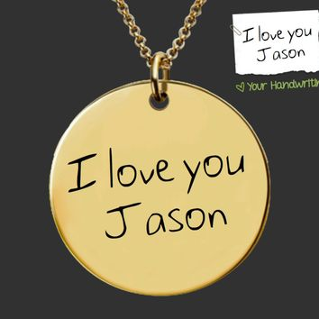 Gold Design Your Own Custom Handwriting Necklace