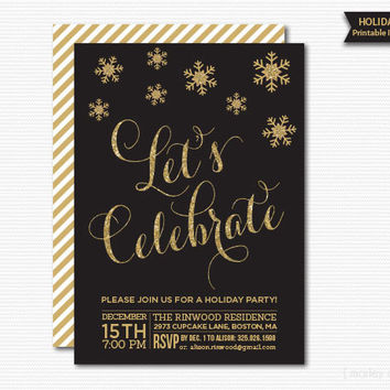 Let's Celebrate Holiday Party Invitation Printable Gold Glitter Glam Snowflakes Black Digital Christmas Party Invite Christmas Invitation