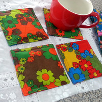 Set of 4 Padded Absorbent Vintage Print Fabric Coasters