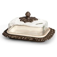 """9""""L, Glass Dome Butter Dish"""