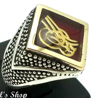 Men's Ring, Turkish Ottoman Style Jewelry, 925 Sterling Silver, Gift, Traditional Handmade, Enamel With Tughra, US Size 10, New
