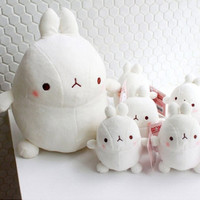 MOLANG Bunny Rabbit White Gray Heart Doll Toy Soft Plush Cushion Figure Animal