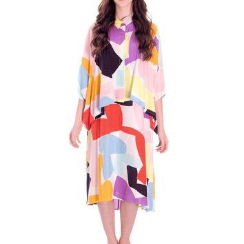 Vintage Marimekko Silk Blend Tent Dress & Cape Jacket 44/M Abstract Letter Print