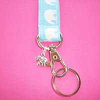 Lanyard  ID Badge Holder WITH CHARM - Blue and white Elephants  - Lobster clasp and key ring