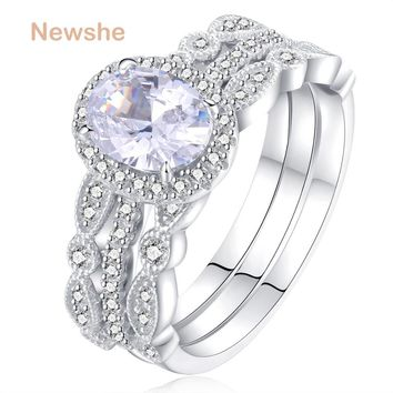 1.8 Ct 3 Pcs Wedding Ring Set Solid 925 Sterling Silver Engagement Band Classic Jewelry