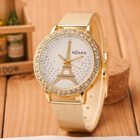 Crystal Tower Gold Mesh Band Wrist Watch  [8321410759]