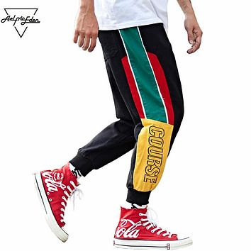 Side Stripe Color Block Harem Pants Men Casual Sweatpants Sportswear Fitness Male Joggers