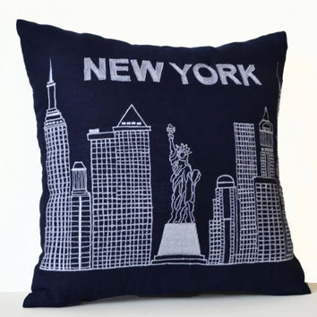 Decorative Throw Pillow Cover -Embroidered New York City Skyline -Sofa Pillows -Personalized Wedding Gift -Engagement -Family Unique Present