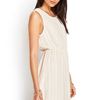 FOREVER 21 Embroidered Stripe Dress Nude