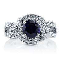 Sapphire CZ 925 Sterling Silver Vintage Style Woven Ring 1.28 Ct #r798-sp