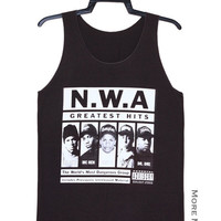 N.W.A Greatest Hits Rapper Hip Hop Charcoal Black Tank Top Singlet Vest Tunic Sleeveless Women Tee Shirt Punk Rock Music T-Shirt Size S-M
