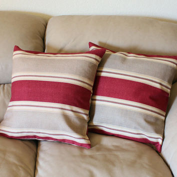 One 18 inch Country Club Striped Decorator Throw Pillow Cover by Waverly in Rusty Red and Taupe