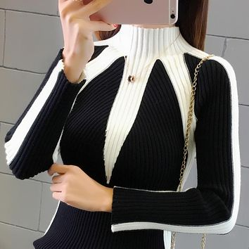 Winter Sweaters Women 2018 Fashion Jumpers Korean hit color Pullovers Knitting Pullovers Thick Christmas Sweater pull femme
