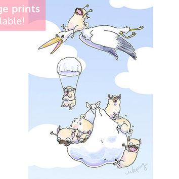 Puppy Drop Nursery Print with Puppies - Cute Animal Nursery Decor, Pug Art with Stork and Pug Puppies, New Puppy Art by Inkpug