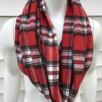 Red Plaid Infinity Scarf-Bulls Flannel Handmade Scarf-Gifts for Her-Winter Chunky Scarf-Toddler Scarf-Kid's Scarf-Mommy and Me-