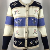 Northern Reflections Womens Cardigan Sweater Spring Flower Embroidery Blue White
