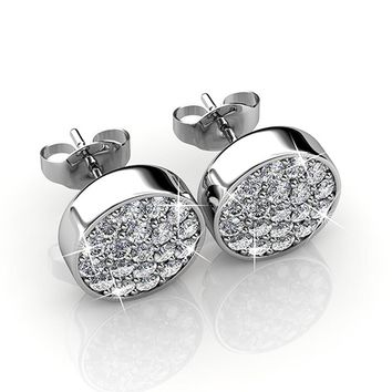 Cate & Chloe Nelly 18k White Gold Pave Stone Stud Earrings with Swarovski Crystal Cluster, Round Cut Swarovski Stones, Stud Earring Set, Trendy Jewelry for Women, Girls, MSRP $129