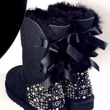 DCCK8X2 Crystal Bling Ugg Bailey Bow Boots made with Genuine Swarovski Crystals in Sparkly Nig