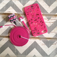 New Super Cute Jeweled Multi Colored Zig Zag Designed Wall Connector + 10ft iPhone 5/5s Hot Pink Cable Cord