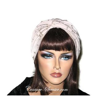 Handmade Khaki Twist Turban, Embroidered Eyelet