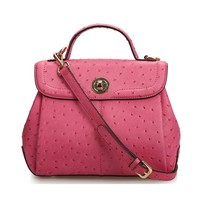 Leather Top Handle Handheld Bag with Removable Across Body Shoulder Strap Mini Organizer Bag