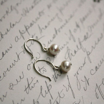 Ivory Freshwater Pearl Earrings on Handmade Aargentium Sterling Silver Ear Wires
