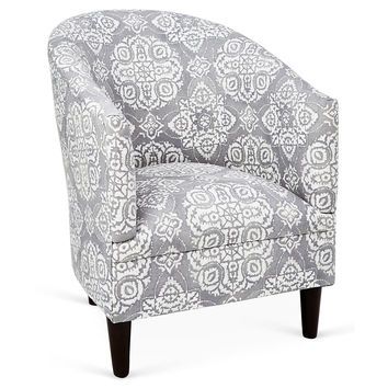 Ashlee Cotton Tub Chair, Gray/White, Accent & Occasional Chairs