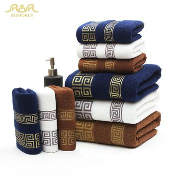 ROMORUS 100% Cotton Embroidered Towel Sets Bamboo Beach Bath Towels for Adults Luxury Brand High Quality Soft Face Towels 3 PCS