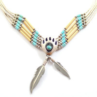 Vintage Sterling Signed Native American Turquoise and Concho Bamboo Bear Claw and Feather Necklace