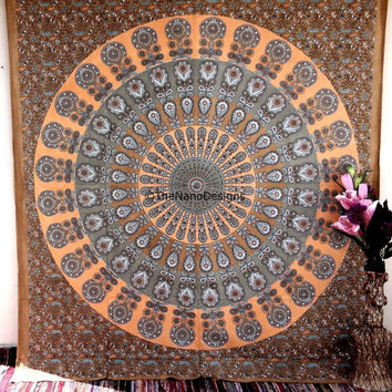 Feather Wall Tapestries, peacock feather Mandala Tapestry Wall Hanging, Indian Bedspread Bohemian Room Décor, Dorm Bedding Tapestry Art