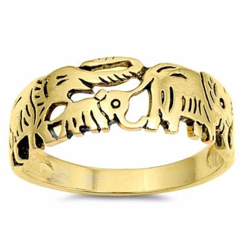 Sterling Silver Gold-Tone Plated Regency Motif Elephant Ring 8MM